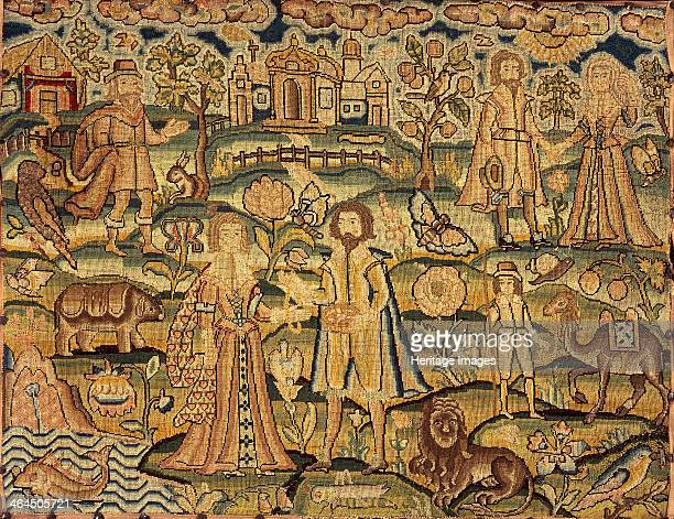 Embroidery panel showing people, flowers, insects, fish and animals, 17th century.