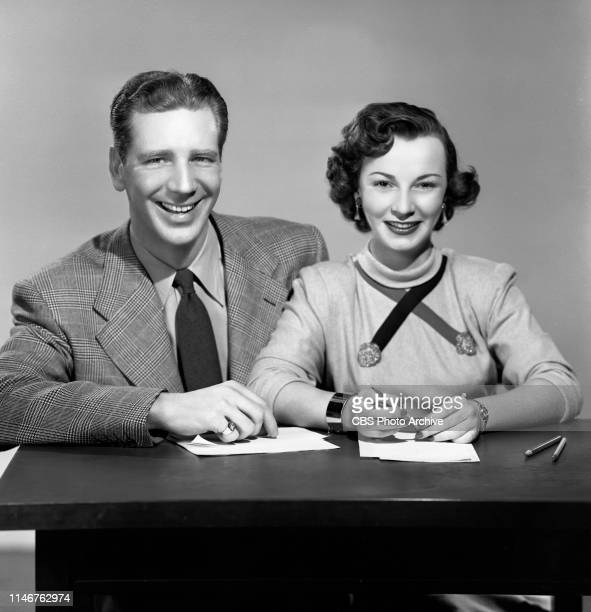 Emcee and quiz master Durward Kirby and singer Rusty Arden. The CBS television game show, TV Telephone Game. February 19, 1951.