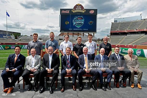 Emcee Dave Schwartz, NHL Commissioner Gary Bettman, Minnesota Wild owner Craig Leipold, Wild COO Matt Majka,Chicago Blackhawks President and CEO John...