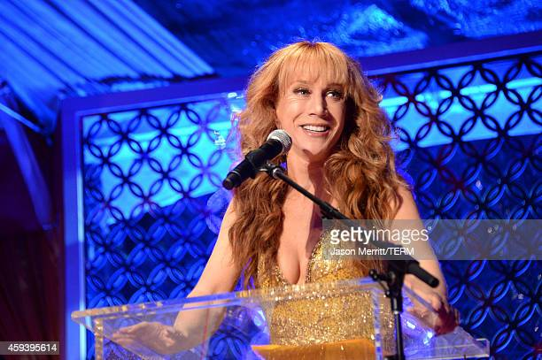 Emcee Kathy Griffin speaks at Goldie Hawn's inaugural 'Love In For Kids' benefiting the Hawn Foundation's MindUp program transforming children's...