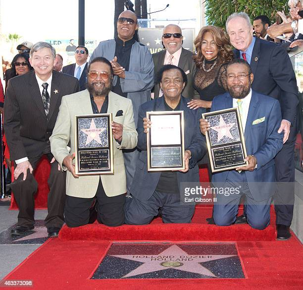 Emcee/President of the Hollywood Chamber of Commerce Leon Gubler Eddie Holland Lamont Dozier Brian Holland Stevie Wonder Berry Gordy Mary Wilson and...