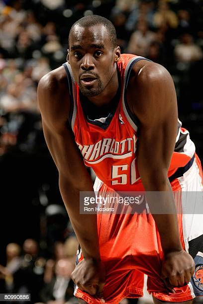 Emeka Okafor of the Charlotte Bobcats looks on during a break in game action against the Indiana Pacers on April 12, 2008 at Conseco Fieldhouse in...