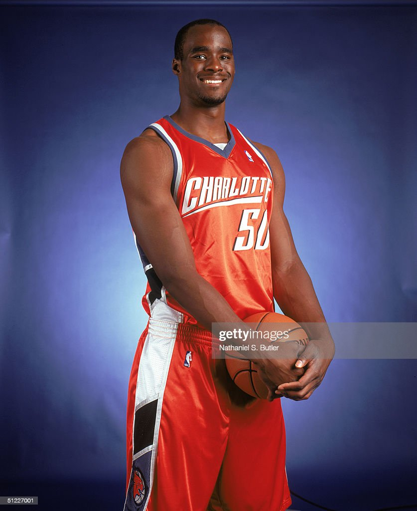 Emeka Okafor #50 of the Charlotte Bobcats poses for a portrait at the University of North Florida on July 26, 2004 in Jacksonville, Florida.