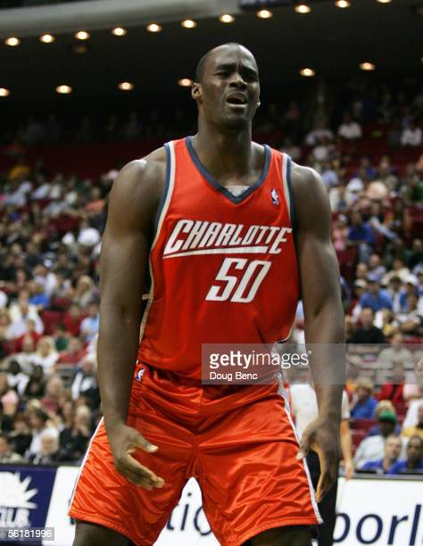 Emeka Okafor of the Charlotte Bobcats reacts after being called for a foul against the Orlando Magic at TD Waterhouse Centre November 15, 2005 in...