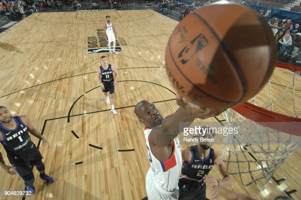 Emeka Okafor of the Delaware 87ers drives to the basket against the Reno Bighorns during NBA GLeague Showcase Game 26 on January 13 2018 at the...