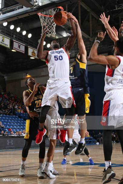 Emeka Okafor of the Delaware 87ers grabs the rebound against the Fort Wayne Mad Ants during a GLeague at the Bob Carpenter Center in Newark Delaware...