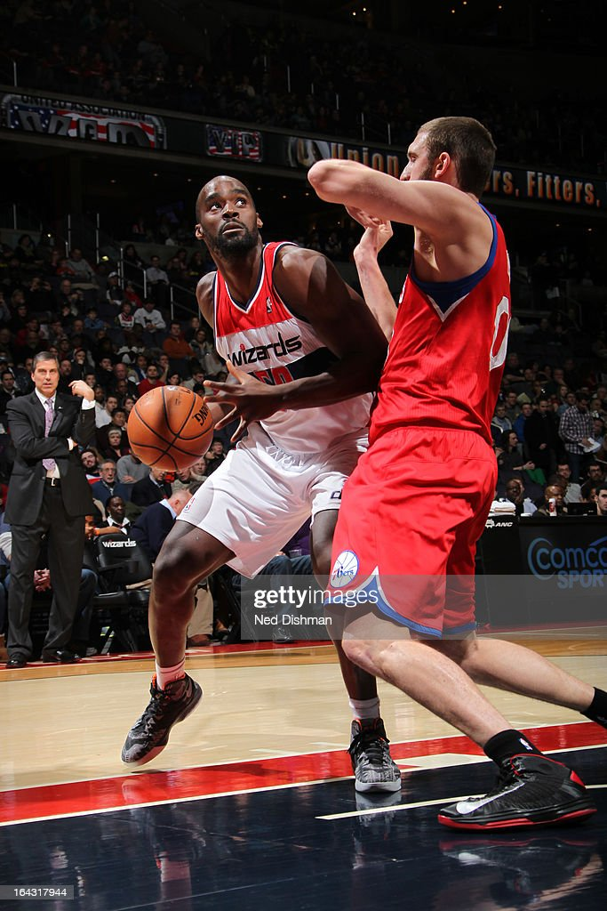 Emeka Okafor #50 of the Washington Wizards looks to shoot the ball against the Philadelphia 76ers at the Verizon Center on March 3, 2013 in Washington, DC.