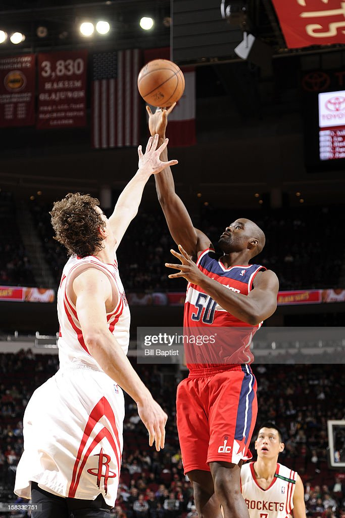 Emeka Okafor #50 of the Washington Wizards shoots against the Houston Rockets on December 12, 2012 at the Toyota Center in Houston, Texas.