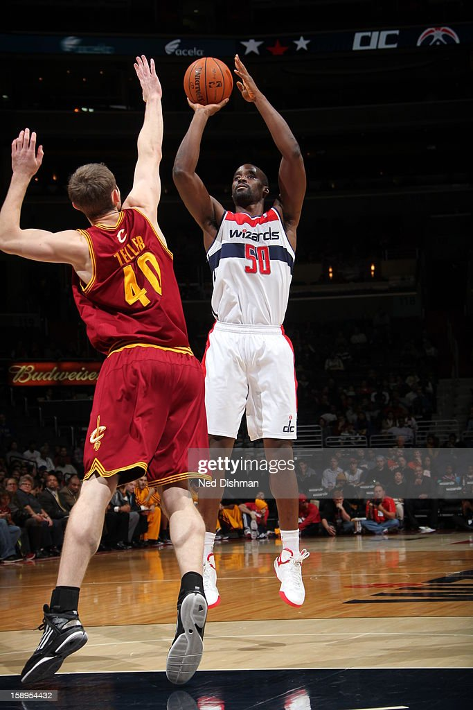 Emeka Okafor #50 of the Washington Wizards takes a shot against the Cleveland Cavaliers at the Verizon Center on December 26, 2012 in Washington, DC.