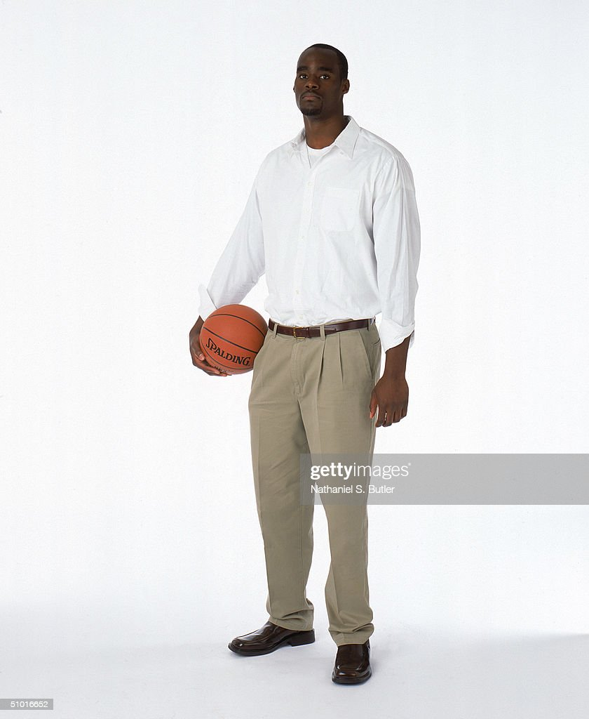 Emeka Okafor poses during the 2004 NBA Draft Portraits at Westin Hotel on June 23 in New York, New York.