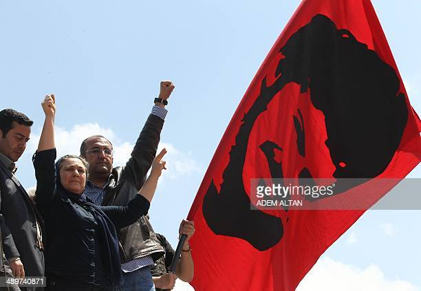 Emel Korkmaz the mother of Ali Ihsan Kormaz a protester who was killed during antiregime prostests last year raises her fist as she leaves the...
