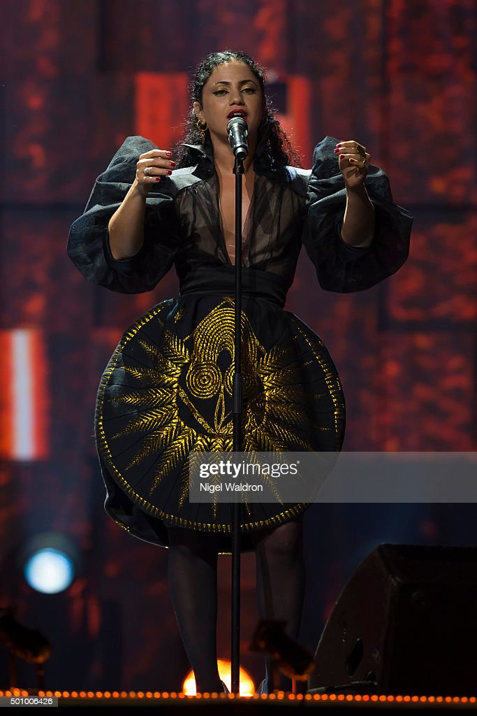 Emel Mathlouthi of Tunisian performs on stage during the Nobel Peace Prize concert at Telenor Area on December 11, 2015 in Oslo, Norway. The Nobel Peace Concert is hosted by Jay Leno to honour this year's Nobel Peace Prize winners the National Dialogue Quarter members Houcine Abbassi, Secretary General of the Tunisian General Labour Union, Mohamed Fadhel Mahmoud, President of the National Bar Association of Tunisian and Abdessattar Ben Moussa, President of the Tunisian Human Rights, and Wided Bouchamaoui, President of the Tunisian Human Rights League on December 11, 2015 in Oslo, Norway.