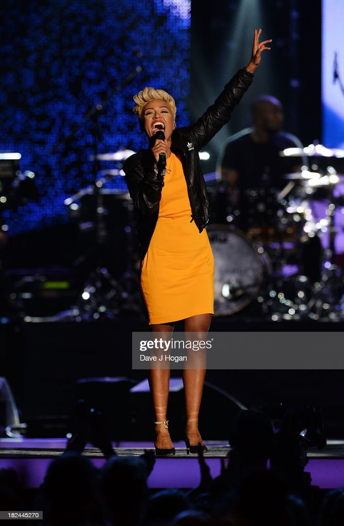 Emeli Sand performs at 'Unity: A Concert For Stephen Lawrence' in aid of The Stephen Lawrence Charitable Trust at the O2 Arena on September 29, 2013 in London, England.