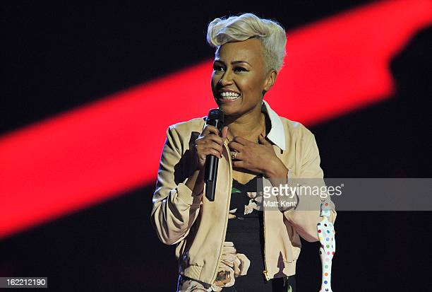 Emeli Sandé receives the Mastercard British Album of the Year award on stage during the Brit Awards 2013 at the 02 Arena on February 20 2013 in...