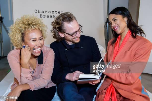 Emeli Sandé Tom Hiddleston and Zawe Ashton at the Character Breakdown by Zawe Ashton book launch at Wild By Tart on April 03 2019 in London England