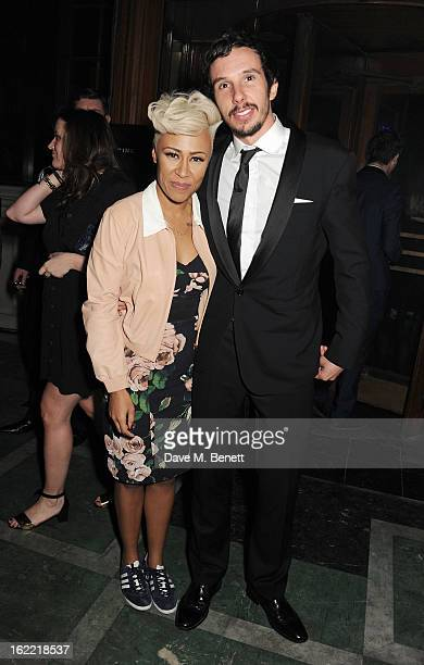 Emeli Sande and Adam Gouraguine attend the Universal Music Brits Party hosted by Bacardi at the Soho House popup on February 20 2013 in London England