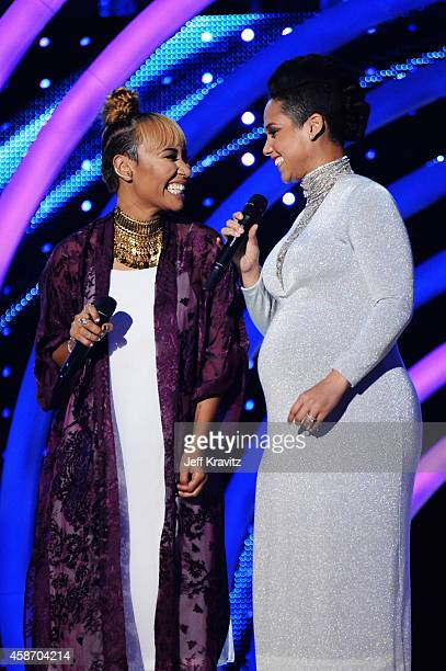Emeli Sande and Alicia Keys on stage the MTV EMA's 2014 at The Hydro on November 9 2014 in Glasgow Scotland