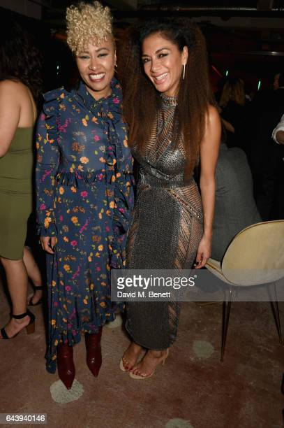 Emeli Sande and Nicole Scherzinger attend the Universal Music BRIT Awards AfterParty 2017 hosted by Soho House and BACARDI Rum at 180 The Strand on...