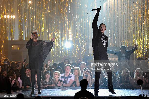 Emeli Sande and Professor Green perform on stage during the MOBO Awards 2011 at the SECC on October 5 2011 in Glasgow Scotland