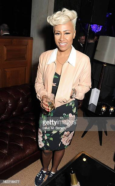 Emeli Sande attends the Universal Music Brits Party hosted by Bacardi at the Soho House popup on February 20 2013 in London England