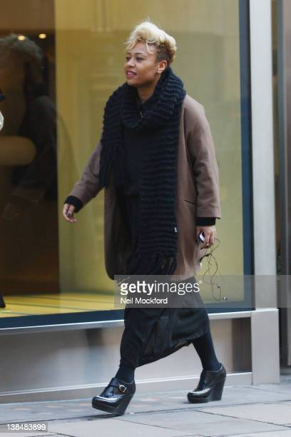 Emeli Sande is pictured shopping at D&G on Old Bond Street on February 7, 2012 in London, England.