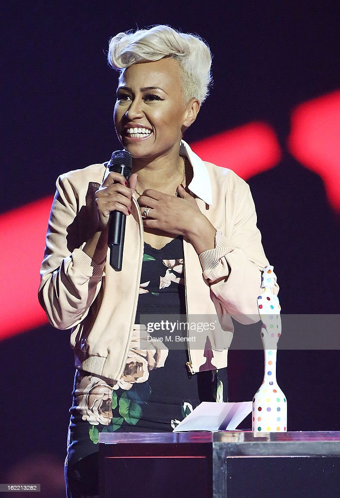 Emeli Sande is presented with the Mastercard British Album award on stage at the Brit Awards at 02 Arena on February 20, 2013 in London, England.