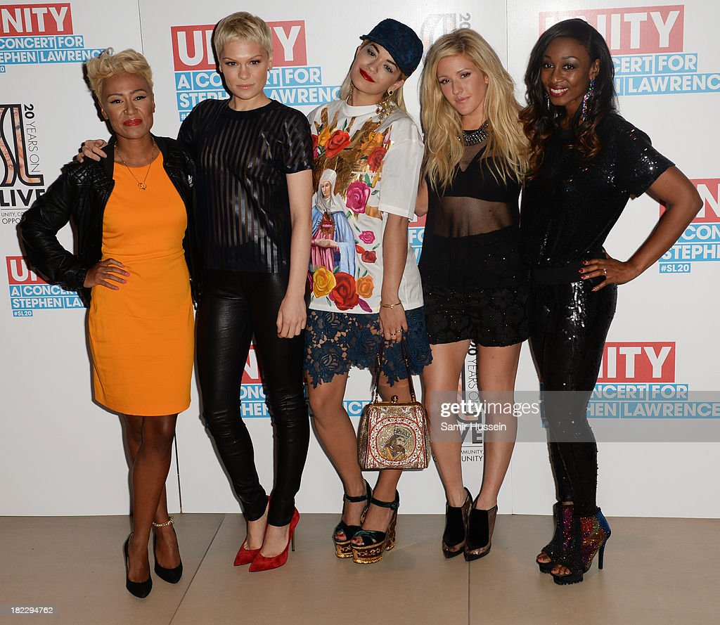 Emeli Sande, Jessie J, Rita Ora, Ellie Goulding and Beverley Knight attend the Unity concert in memory of Stephen Lawrence at O2 Arena on September 29, 2013 in London, England.