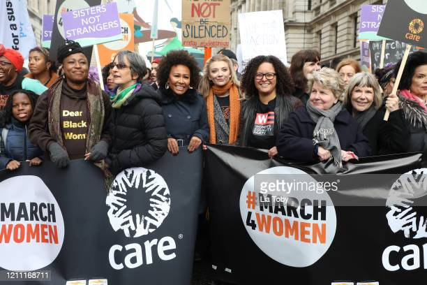Emeli Sande, Natalie Dormer and Sandi Toksvig during the #March4Women 2020 rally at Southbank Centre on March 08, 2020 in London, England. The event...
