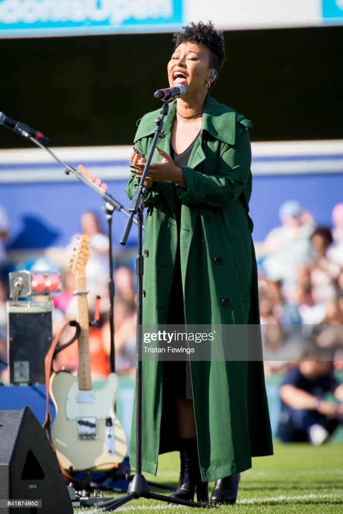 Emeli Sande performs live during the #GAME4GRENFELL at Loftus Road on September 2, 2017 in London, England. The charity football match has been set up to benefit those who were affected in the Grenfell Tower disaster.