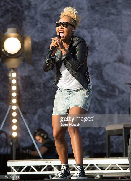 Emeli Sande performs live on the Virgin Media Stage on day 2 of V Festival at Hylands Park on August 18 2013 in Chelmsford England