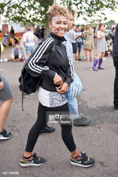 Emeli Sande poses backstage at Wireless Festival at Finsbury Park on July 5 2014 in London United Kingdom