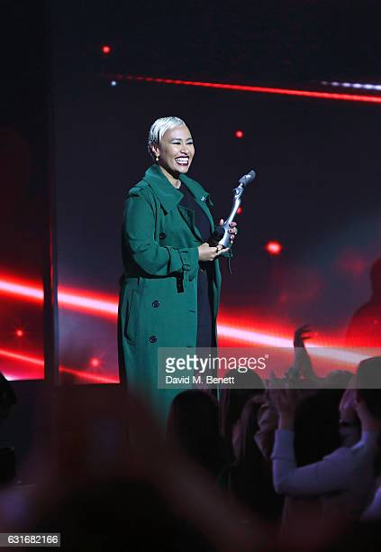 Emeli Sande presents the Critics' Choice award at The BRIT Awards with Mastercard 2017 nominations show at ITV Studios on January 14 2017 in London...