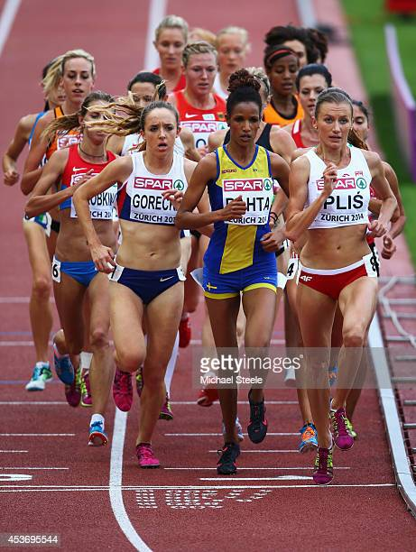 Emelia Gorecka of Great Britain and Northen Ireland Meraf Bahta of Sweden and Renata Plis of Poland compete in the Women's 5000 metres final during...