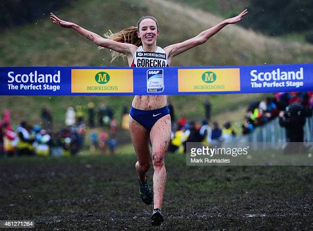 Emelia Gorecka of Great Britain celebrates winning the Senior Women's 6K race during the Great Edinburgh X Country at Holyrood Park on January 10...