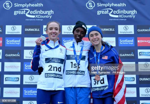 GBR Emelia Gorecke EUR Yasmin Can and USA Molly Seidel pose at the medal ceremony at the Simplyhealth Great Edinburgh XCountry Womans 6k race during...