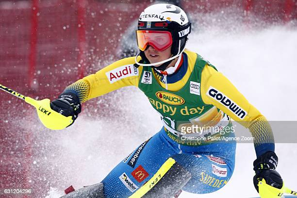 Emelie Wikstroem of Sweden in action during the Audi FIS Alpine Ski World Cup Women's Slalom on January 08 2017 in Maribor Slovenia