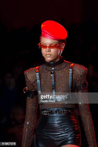 Emely Montero walks runway for The Blonds fashion show during Autumn/Winter 2018 New York Fashion Week at Spring Studios