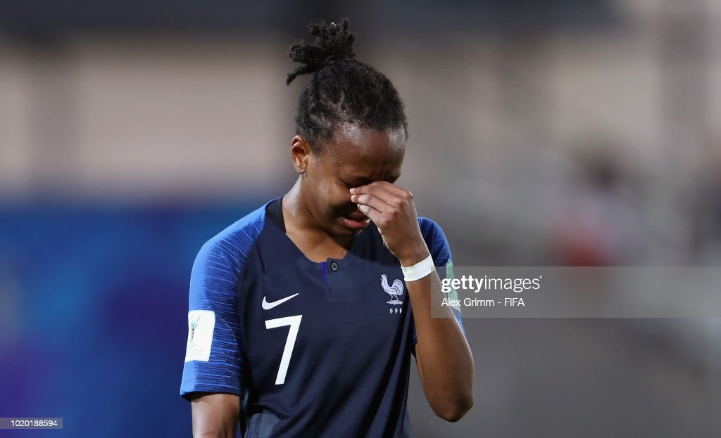Emelyne Laurent of France reacts after the FIFA U-20 Women's World Cup France 2018 Semi Final semi final match between France and Spain at Stade de la Rabine on August 20, 2018 in Vannes, France.