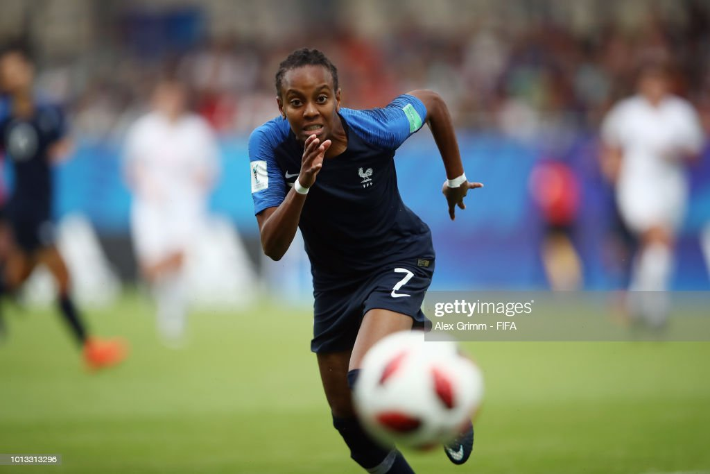 Emelyne Laurent of France runs after the ball during the FIFA U-20 Women's World Cup France 2018 group A match between France and New Zealand at Stade de la Rabine on August 8, 2018 in Vannes, France.
