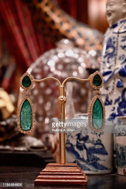 Emerald and diamond earrings designed by Indian fashion and jewelry designer Sabyasachi at Sabyasachi Jewelry his first flagship jewelry store in the...