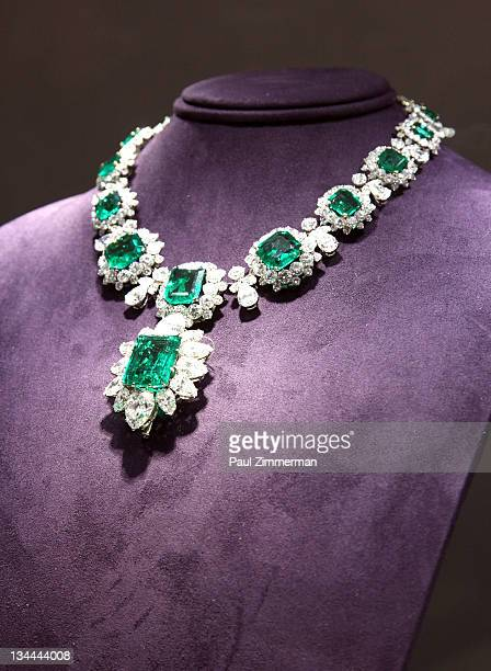 A emerald and diamond necklace by Bvlgari owned by Elizabeth Taylor a gift from Richard Burton on display at 'The Collection Of Elizabeth Taylor'...