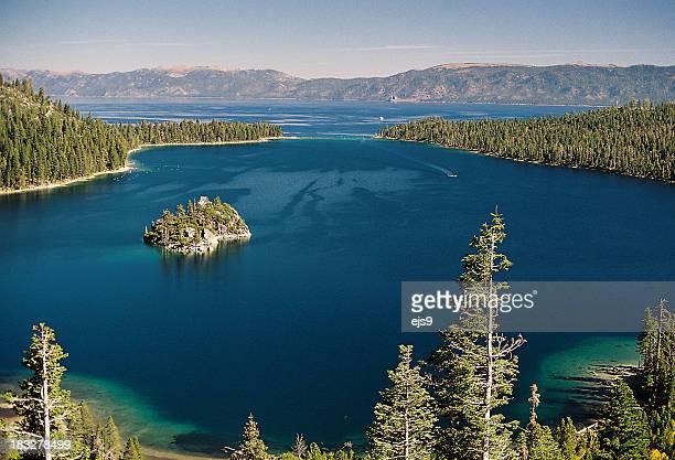 emerald bay at lake tahoe california - lake tahoe stock photos and pictures