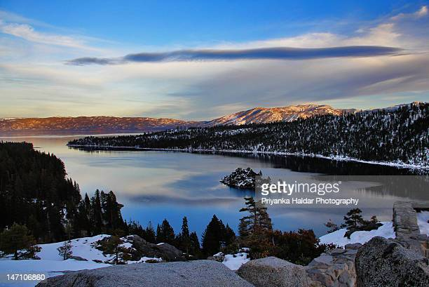 emerald bay just before dusk - emerald bay lake tahoe stock pictures, royalty-free photos & images