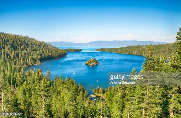 emerald bay, lake tahoe, california - emerald bay lake tahoe stock pictures, royalty-free photos & images