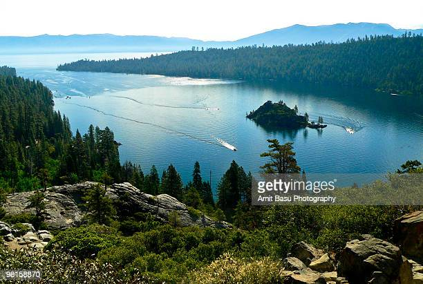 emerald bay, lake tahoe - lake tahoe stock photos and pictures