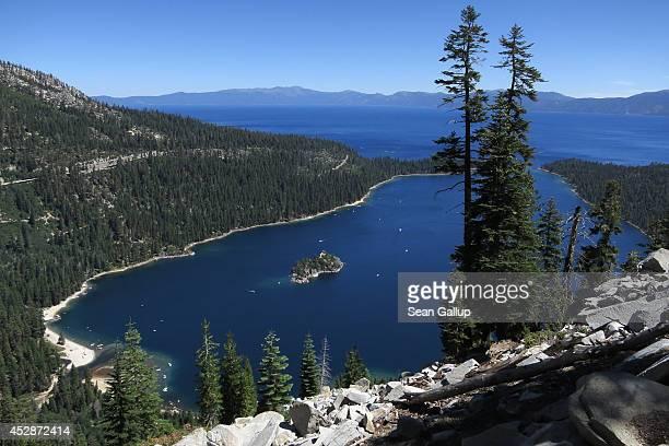 Emerald Bay lies under blue skies at Lake Tahoe on July 23 2014 near South Lake Tahoe California Lake Tahoe is among Califonria's major tourist...