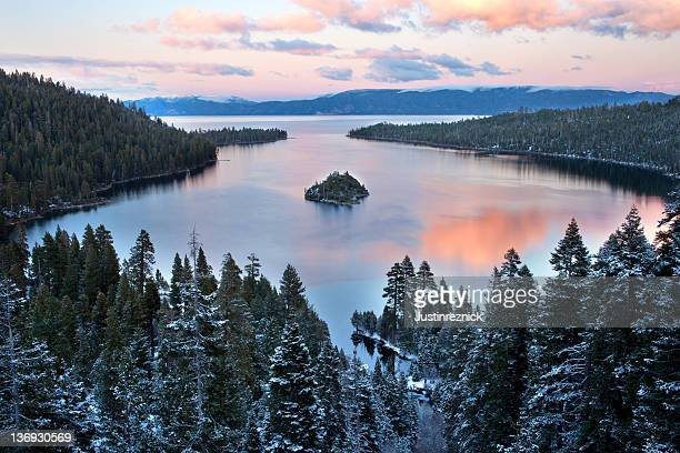 emerald bay sunset - lake tahoe stock photos and pictures