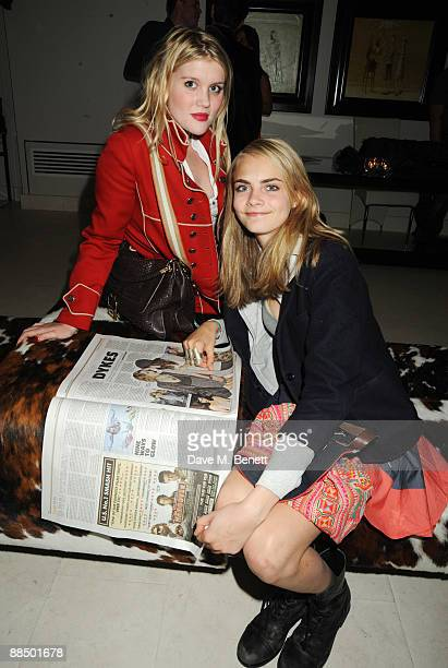 Emerald Fennell and Coco Delevigne attend the afterparty following the screening of 'Banksy's Coming For Dinner' at the May Fair Hotel on June 15...