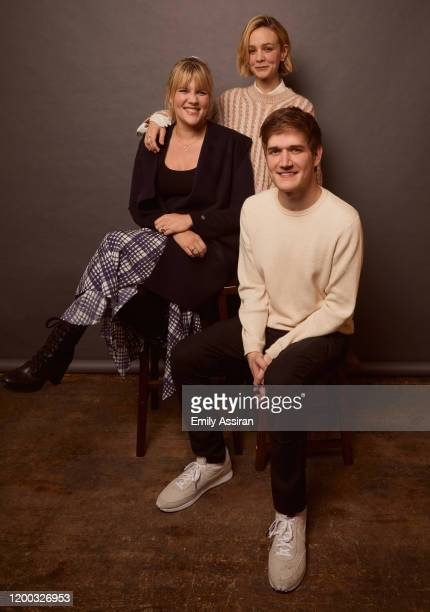 Emerald Fennell Carey Mulligan and Bo Burnham from Promising Young Woman pose for a portrait at the Pizza Hut Lounge on January 25 2020 in Park City...