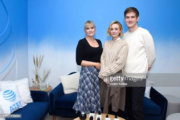Emerald Fennell Carey Mulligan and Bo Burnham of Promising Young Women stop by WarnerMedia Lodge Elevating Storytelling with ATT during Sundance Film...